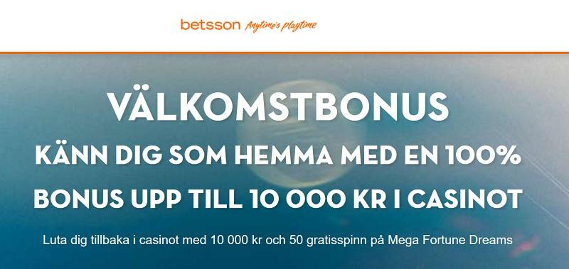 Betsson kampanjkod 2017 för 10.000 kr casino bonus