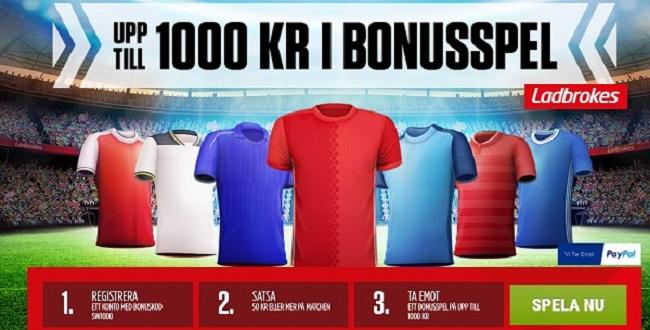 Ladbrokes kampanjkod för 1000 kr oddsbonus