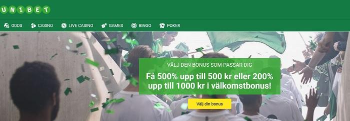 Unibet bonuskod 2017 för 200% bonus upp till 1000 kr